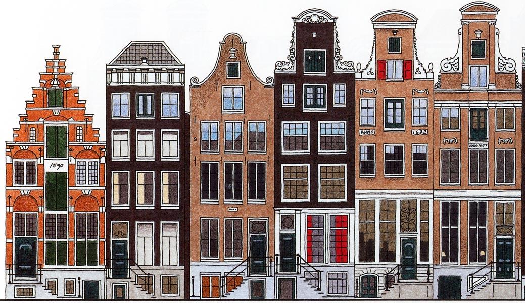 De herengracht de amsterdamse grachtengordel in kleur vereniging vrienden van de amsterdamse - De gevels van de huizen ...
